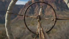 Indian dream catcher coup stick 13 Stock Footage