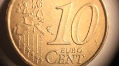 Ten Euro cent. Coin of European Union. Stock Footage