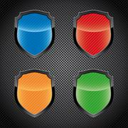 glossy shield emblems - stock illustration