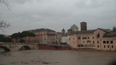 Tiber island flood in Rome, Italy Stock Footage