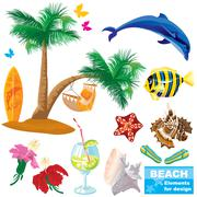 summer beach elements set - stock illustration