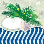 гранж летнего отдыха фоне пальм и оболочки Stock Illustration