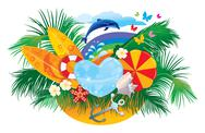 Stock Illustration of summer background with palms, shells, surfboards, rainbow and dolphin