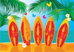 summer holiday postcard - surf boards with hand drawn text aloha - stock illustration