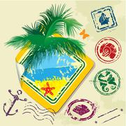 Summer and travel stamps and sticker -  hand drawn collection Stock Illustration