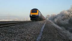 Intercity HST 125 goes past close to track - stock footage