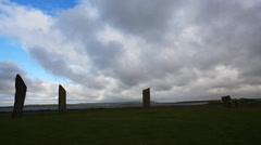 The Stones of Stenness, a small ring of Standing Stones in  Orkney, Scotland Stock Footage