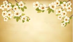 retro background with blossoming tree brunch and white flowers. vector. - stock illustration