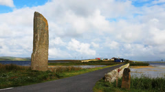 The Watchstone, a large Standing Stone in  Orkney, Scotland Stock Footage