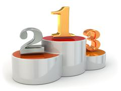 podium with numbers of places on white isolated background. - stock illustration