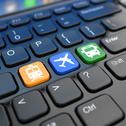 Stock Illustration of online booking  tickets to train, bus or airplane. laptop keyboard,