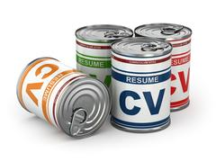 cv can, conceptual image of resume. - stock illustration