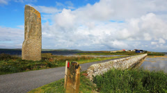 The Watchstone is a large Standing Stone in  Orkney, Scotland Stock Footage