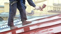 Builder roofer painter worker Stock Footage