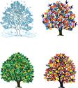 Stock Illustration of Four seasons – trees in spring, summer, autumn, winter