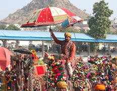 competition to decorate camels at pushkar camel fair - stock photo