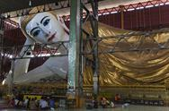Stock Photo of reclining buddha in chaukhtatgyi paya. yangon, myanmar (burma)