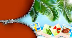 Background with photos from holidays on a seaside. summer holidays concept. v Stock Illustration