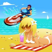 Relaxing on the beach Stock Illustration