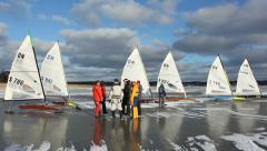 Ice sailors Stock Footage