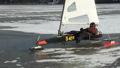 Ice sailing, towards, close Stock Footage