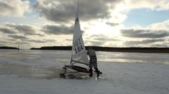 Ice sailing, starting Stock Footage