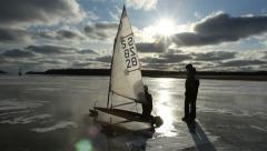 Ice sailing, child, start Stock Footage