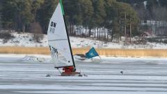Ice sailing turning Stock Footage