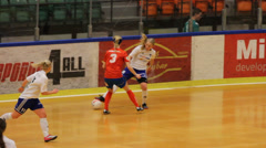 Indoor female soccer/football Stock Footage