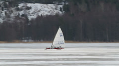 Ice sailing, fast Stock Footage