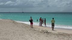 Family on Caribbean beach vacation Antigua Island HD 1222 - stock footage