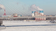 Stock Video Footage of Span of the Big Obukhovsky bridge with driving vehicles. Winter. St. Petersburg