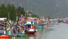 Fisherman boats parking in the bay, Asia, Thailand. Stock Footage