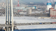 Stock Video Footage of City ring road with Obukhovsky bridge across Neva river in St. Petersburg