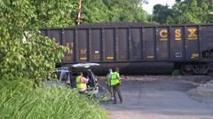 coal train derailment repair crew and cars - stock footage