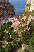 a beach in polignano a mare in italy - stock photo