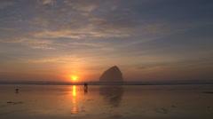 People Walking Sunset Coast - stock footage