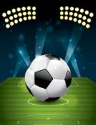 vector football - soccer ball on textured field - stock illustration