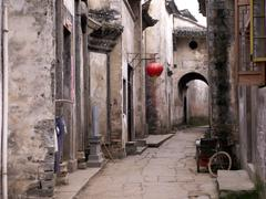 Empty street of an ancient town in anhui province in china Stock Photos