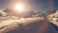 winter snow landscape. mountains alps rocks. resort nature. fly over - stock footage