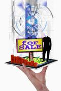 Illustration of land for sale sign, concept with tablet pc Stock Illustration