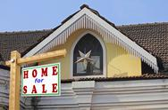 Stock Photo of home for sale signboard, concept