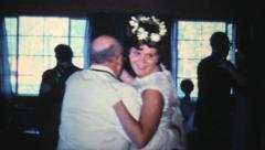 Bridesmaid Dancing With Her Grandfather-1966 Vintage 8mm film - stock footage