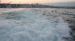 Sea view from a passenger boat in Istanbul. Half speed slow motion. Stock Footage