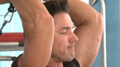 Man's Triceps Overhead Curl - stock footage