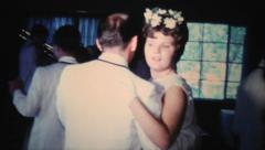 Bridal Party Dancing At Wedding-1966 Vintage 8mm film - stock footage