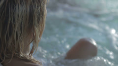Girls Having fun in jacuzzi Stock Footage