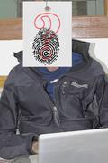 portrait of people behind interrogation symbol - stock illustration
