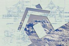 Sky, house, concept Stock Photos