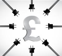 British pound currency and power cables. Stock Illustration